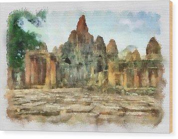 Bayon Temple Wood Print by Teara Na