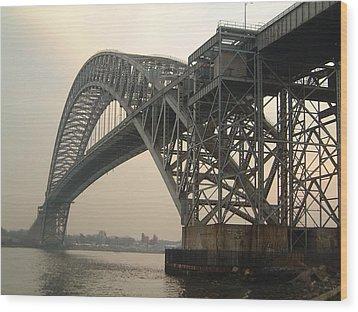 Bayonne Bridge Wood Print by Wayne Gill