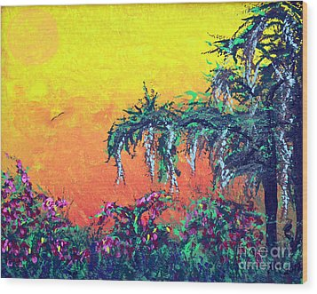 Wood Print featuring the painting Bayou Honeymoon by Alys Caviness-Gober
