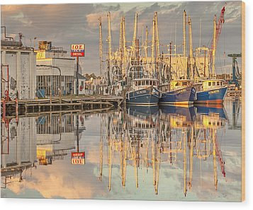 Bayou La Batre' Al Shrimp Boat Reflections 39 Wood Print