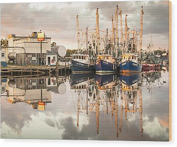 Bayou La Batre' Al Shrimp Boat Reflections 40 Wood Print