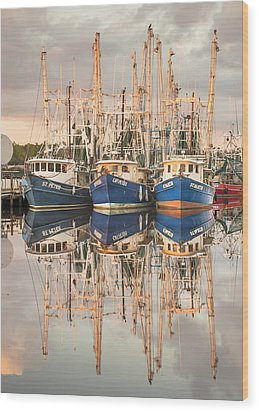 Bayou La Batre' Al Shrimp Boat Reflections 41 Wood Print