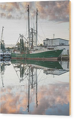 Bayou La Batre' Al Shrimp Boat Reflections 42 Wood Print
