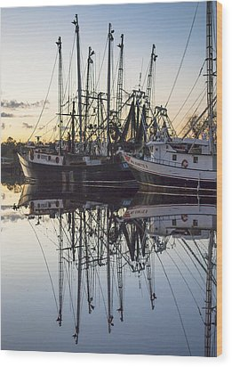 Bayou La Batre' Al Shrimp Boat Reflections 43 Wood Print