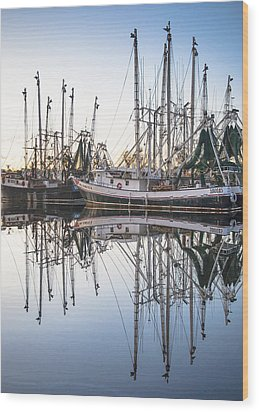 Bayou La Batre' Al Shrimp Boat Reflections 44 Wood Print