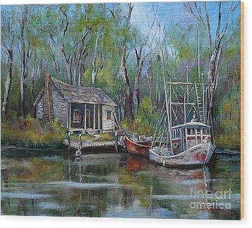 Bayou Shrimper Wood Print by Dianne Parks
