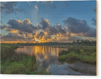 Bayou Sunrise Wood Print by Brian Wright