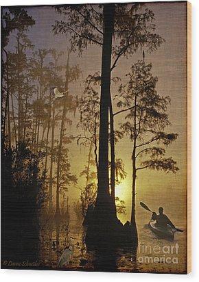 Bayou Sunrise Wood Print by Lianne Schneider