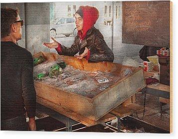 Bazaar - I Sell Fish  Wood Print by Mike Savad