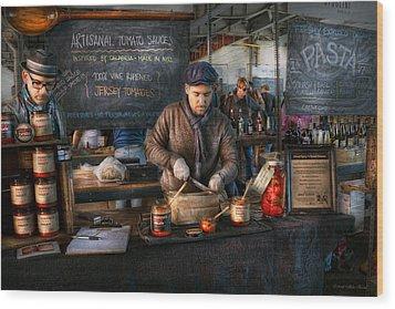 Bazaar - We Sell Tomato Sauce  Wood Print by Mike Savad