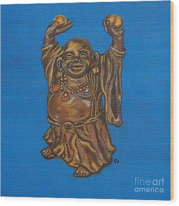Wood Print featuring the painting Be Happy by Linda Prewer