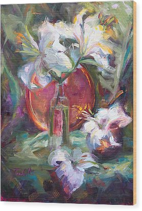 Be Still - Casablanca Lilies With Copper Wood Print by Talya Johnson