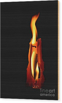 Be The Flame Wood Print by Peggy Hughes