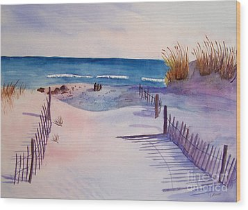 Beach Afternoon Wood Print by Christine Lathrop