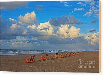 Beach And Chairs With Cloudy Sky Wood Print by Mohamed Elkhamisy