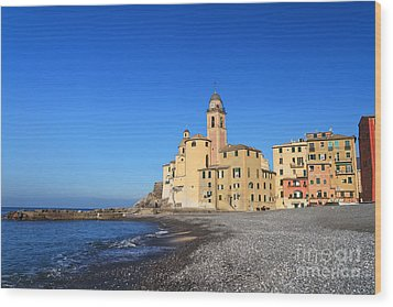 Wood Print featuring the photograph beach and church in Camogli by Antonio Scarpi