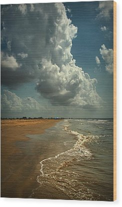 Beach And Clouds Wood Print