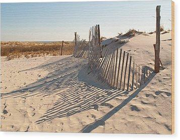 Beach At Lbi Wood Print