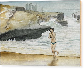 Beach At Sunset Cliffs Wood Print