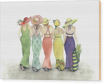Beach Babes In Coverups And Hats Ready For A Day In The Sun Wood Print by Nan Wright