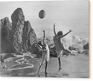 Beach Ball Dancing Wood Print by Underwood Archives