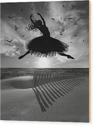 Wood Print featuring the digital art Beach Ballerina by Nina Bradica
