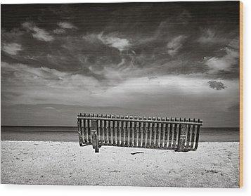 Beach Bench Wood Print by Dave Bowman