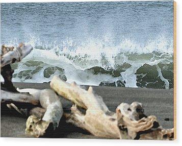 Beach Blast Wood Print by Michael Bruce