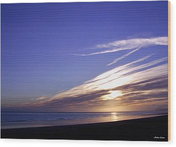 Beach Blue Sunset Wood Print by Barbara St Jean
