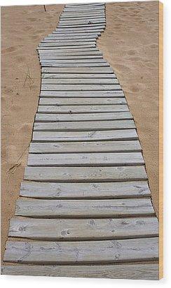 Beach Boardwalk Wood Print by Randy Pollard