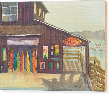 Wood Print featuring the painting Beach Boutique by Sandy Linden