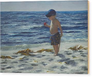 Wood Print featuring the painting Beach Boy by Jeanette French