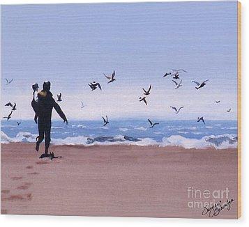 Beach Buddies Wood Print by Suzanne Schaefer