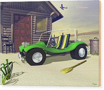 Wood Print featuring the digital art Beach Buggy by John Pangia