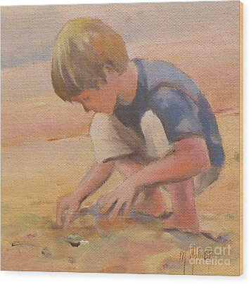Beach Bum Boy In The Sand Wood Print by Mary Hubley