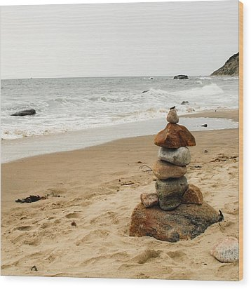 Wood Print featuring the photograph Beach Cairn  by Dawn Romine