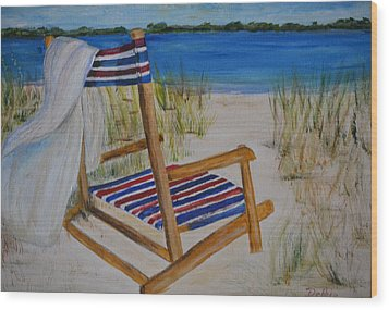 Wood Print featuring the painting Beach Chair by Debbie Baker