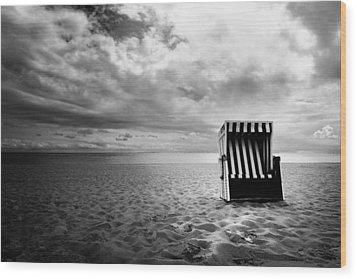 Beach Chair Wood Print by Marc Huebner