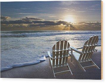 Beach Chairs Wood Print by Debra and Dave Vanderlaan