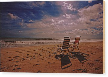 Wood Print featuring the photograph Beach Chairs by John Harding