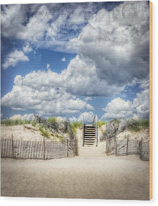 Beach Clouds And Fence Wood Print by Vicki Jauron