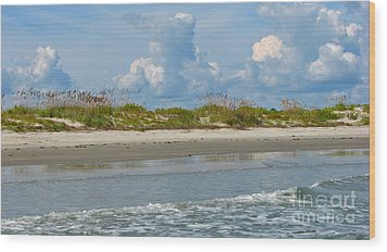 Beach Clouds Wood Print by Val Miller