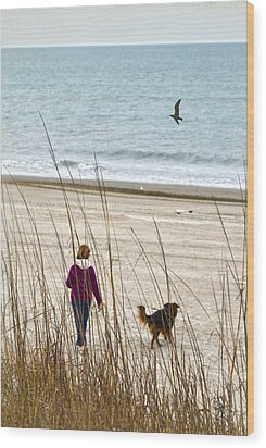 Beach Companions Wood Print by Sandi OReilly