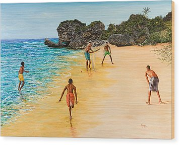 Beach Cricket Wood Print by Victor Collector
