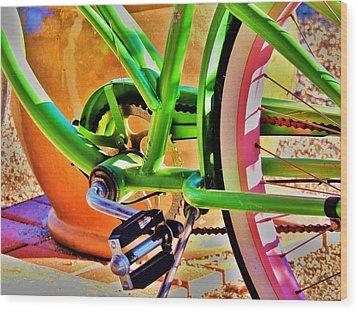Beach Cruiser Wood Print by Helen Carson