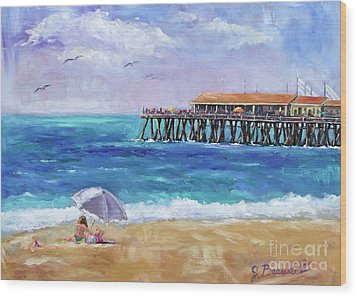 Wood Print featuring the painting Beach Day by Jennifer Beaudet