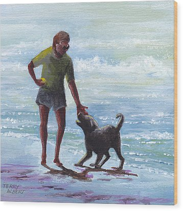 Beach Dog Wood Print