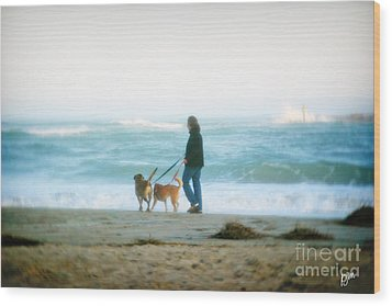 Wood Print featuring the photograph Beach Dogs by Phil Mancuso