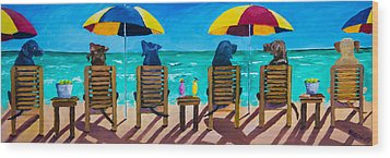 Beach Dogs Wood Print by Roger Wedegis
