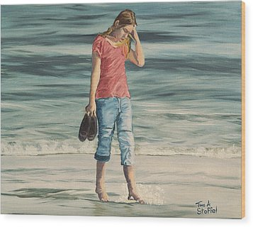 Beach Dreams Wood Print by Tina Stoffel
